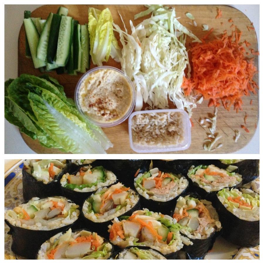 Brown rice vegie sushi